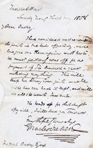 Photo of Charles Dickens's letter to Florence Marryat